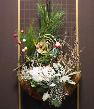 クリスマス お正月 リース 寄せ植え お正月飾り 三日月型プランター