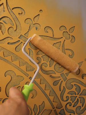 ステンシル 壁 壁紙 塗装 ペイント ゴールド マンダラ ローラー