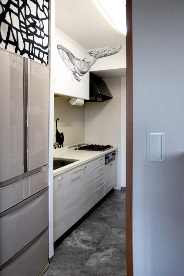 DIY キッチン リフォーム フロアタイル ダイノックシート